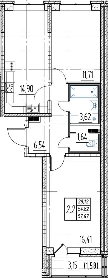 3Е-к.кв, 54.82 м²