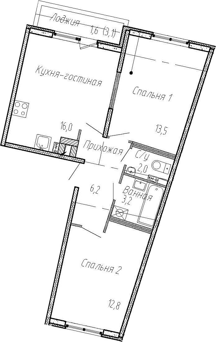 3Е-к.кв, 53.7 м², 2 этаж