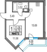 2-к.кв (евро), 39.84 м²
