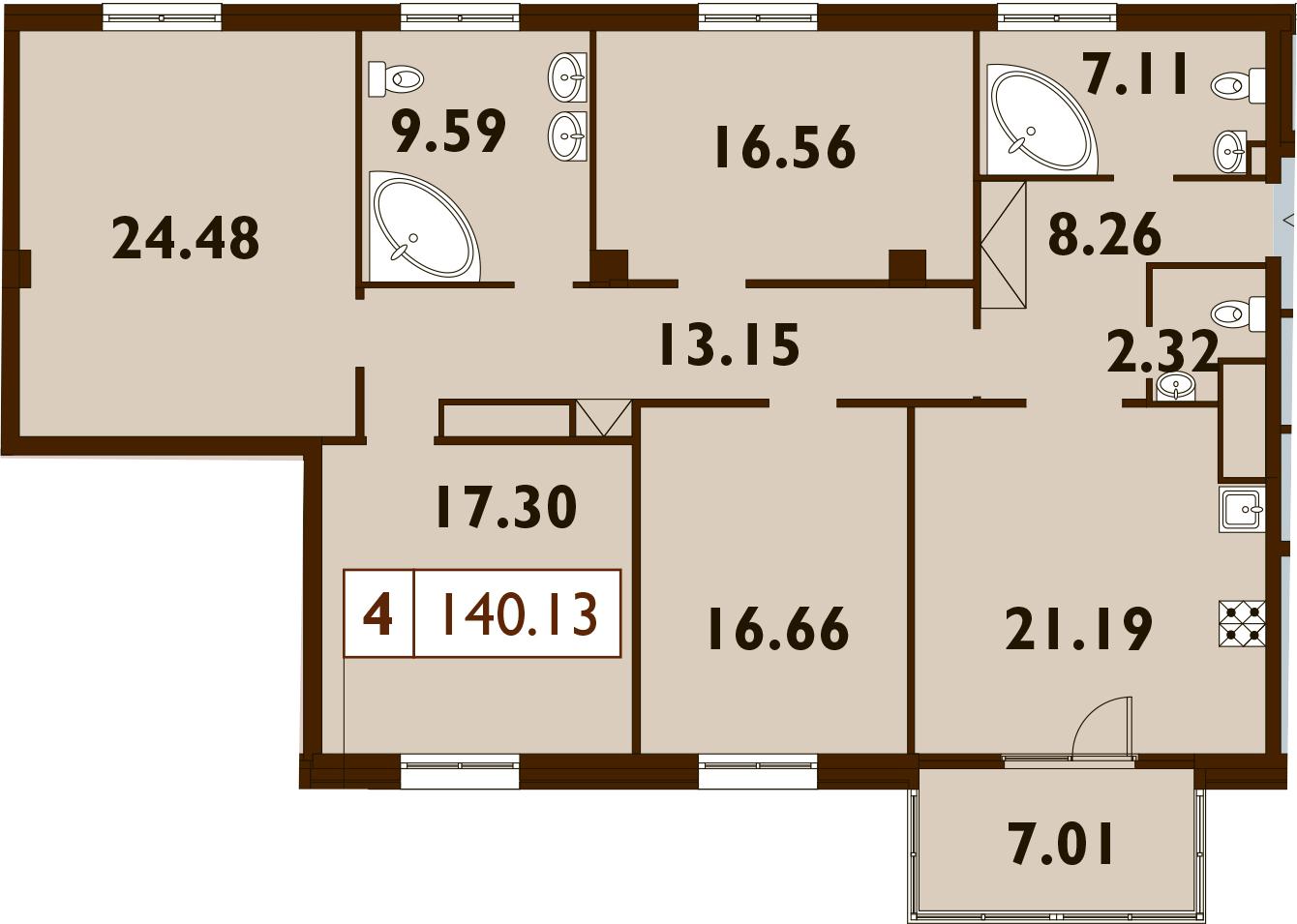 5Е-к.кв, 140.13 м²