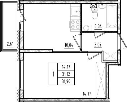 1-комнатная, 31.12 м²– 2