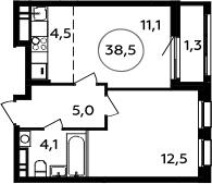 2Е-комнатная, 38.5 м²– 2