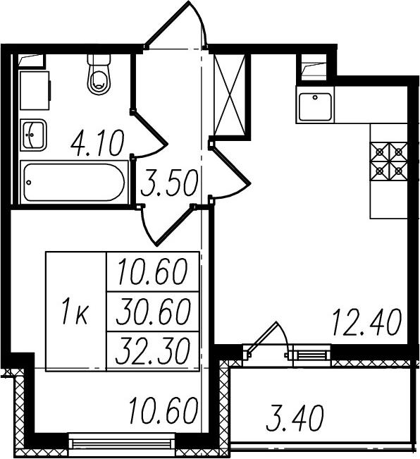 2-к.кв (евро), 34 м²