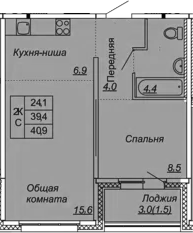 2Е-к.кв, 40.9 м², 2 этаж