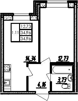 2-к.кв (евро), 34.96 м²