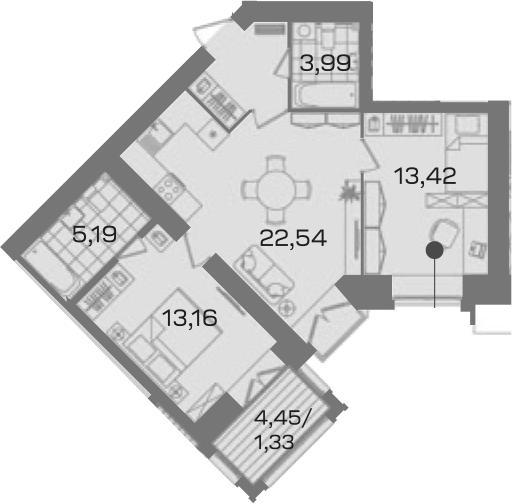 2-к.кв, 64.12 м²