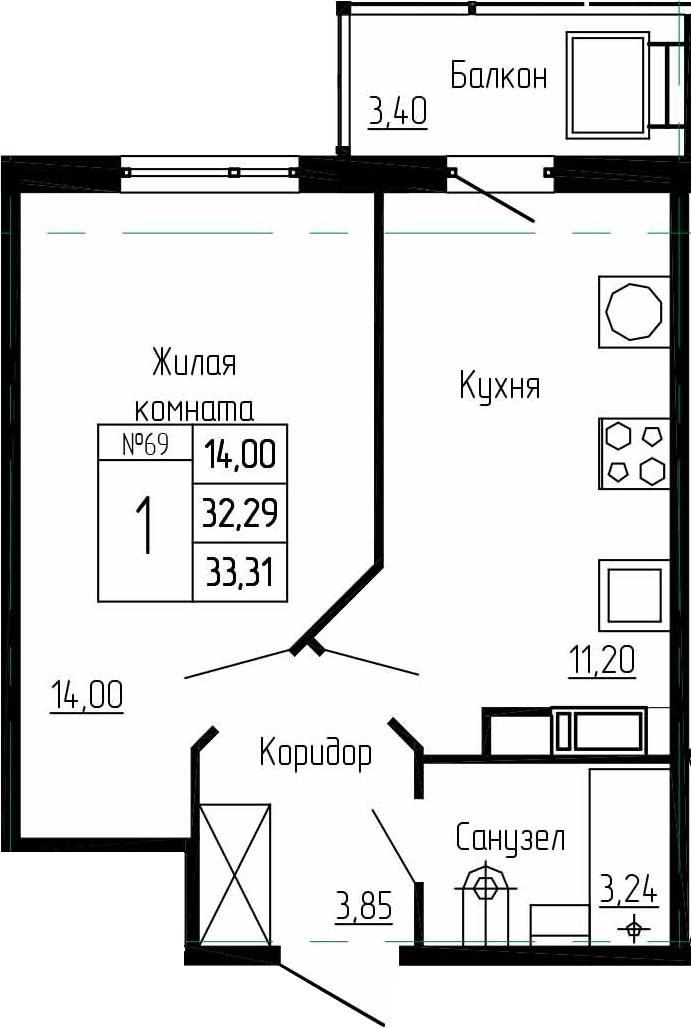 1-комнатная, 33.31 м²– 2