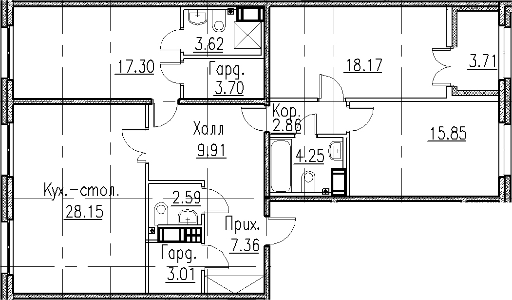 4Е-к.кв, 116.77 м², 6 этаж