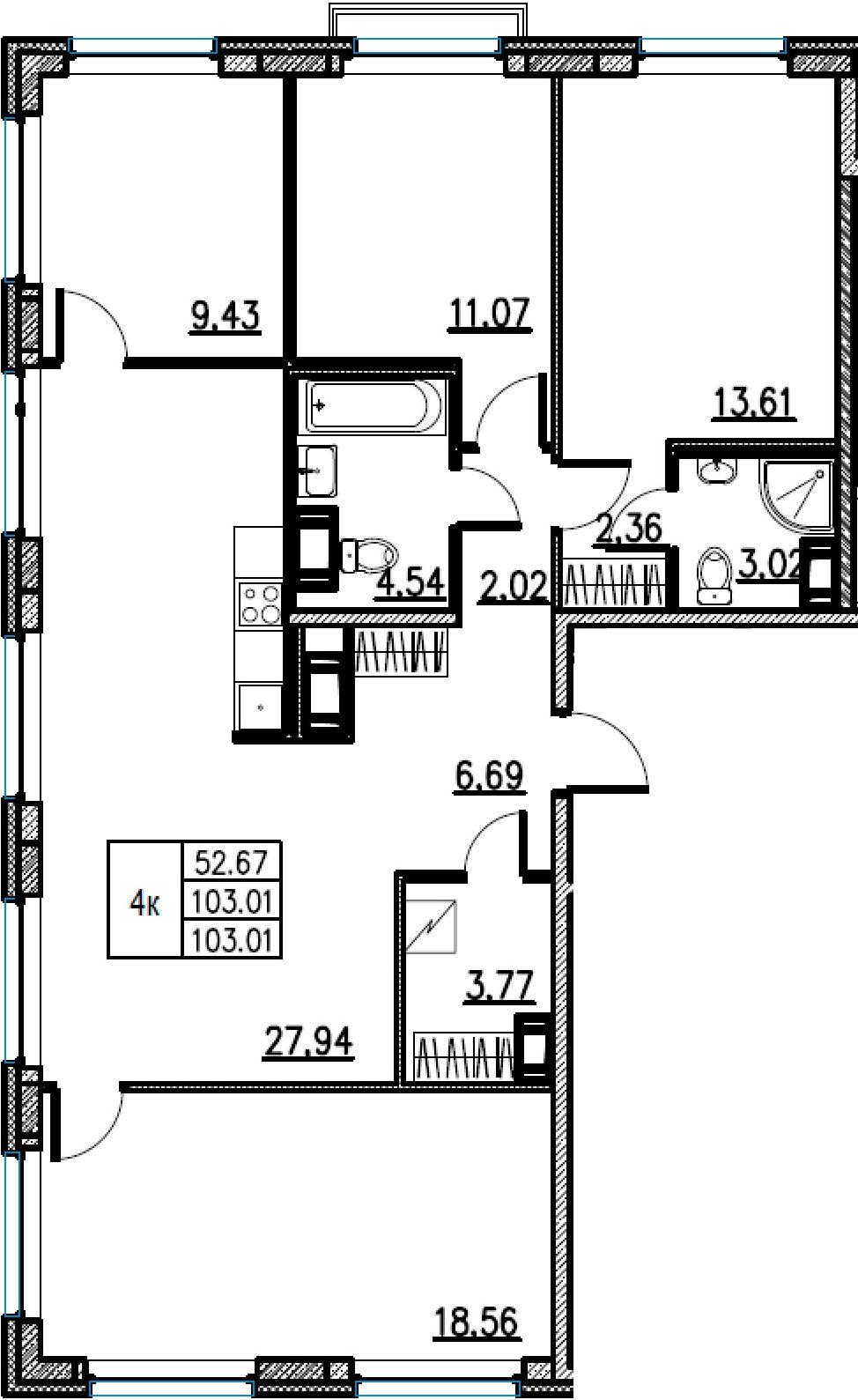 5Е-комнатная, 103.01 м²– 2
