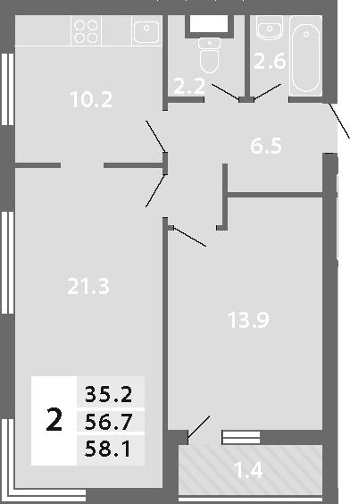2-комнатная, 58.1 м²– 2