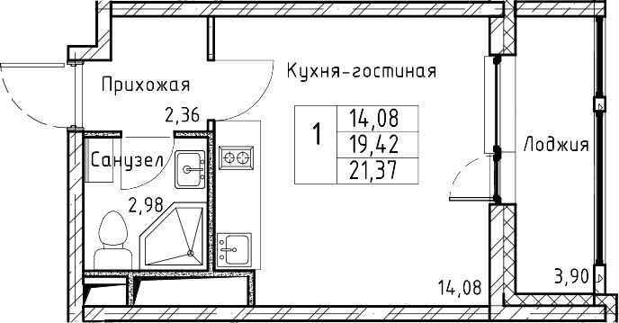 Студия, 21.37 м²