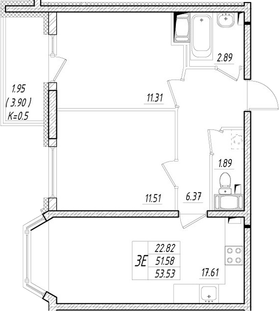 3-к.кв (евро), 55.48 м²