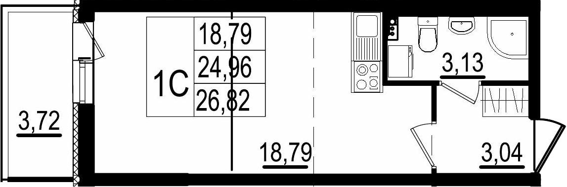 Студия, 24.96 м²– 2
