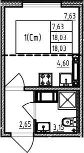 Студия, 18.03 м²