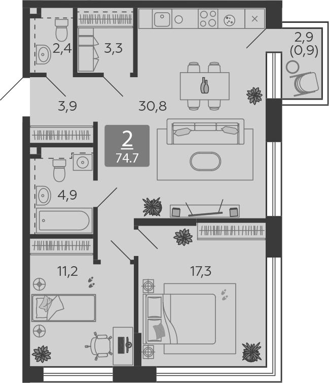 3Е-комнатная, 74.7 м²– 2