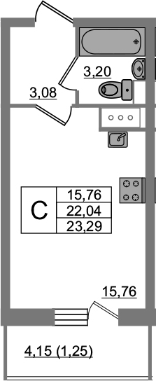 Студия, 23.29 м²