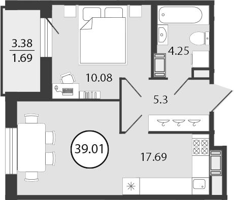 2Е-к.кв, 39.01 м², от 3 этажа