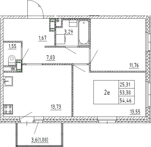 3Е-к.кв, 54.46 м², 2 этаж