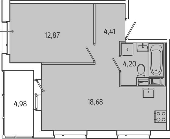 2Е-комнатная, 42.65 м²– 2