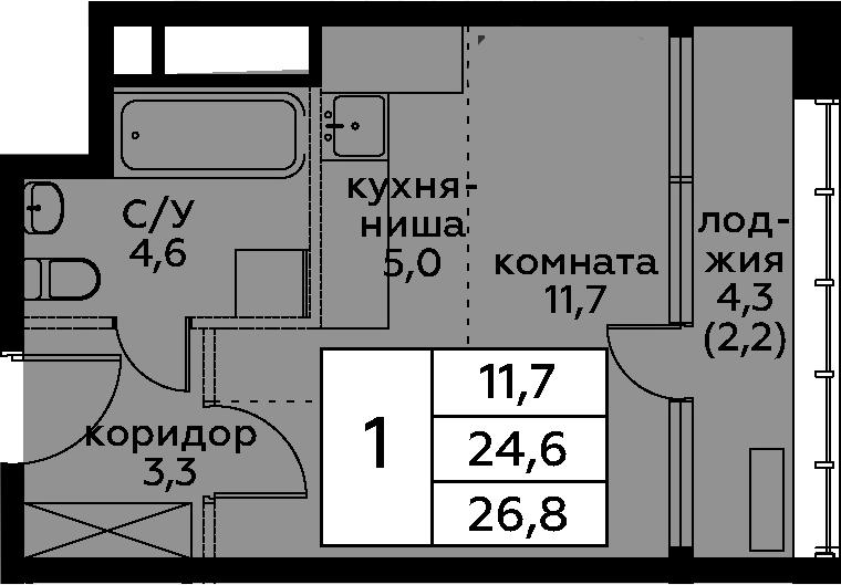 Студия, 29 м²