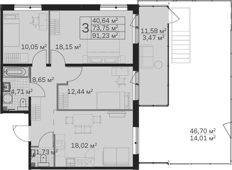4Е-к.кв, 91.23 м²