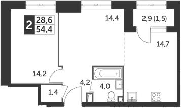 1-к.кв, 54.4 м²