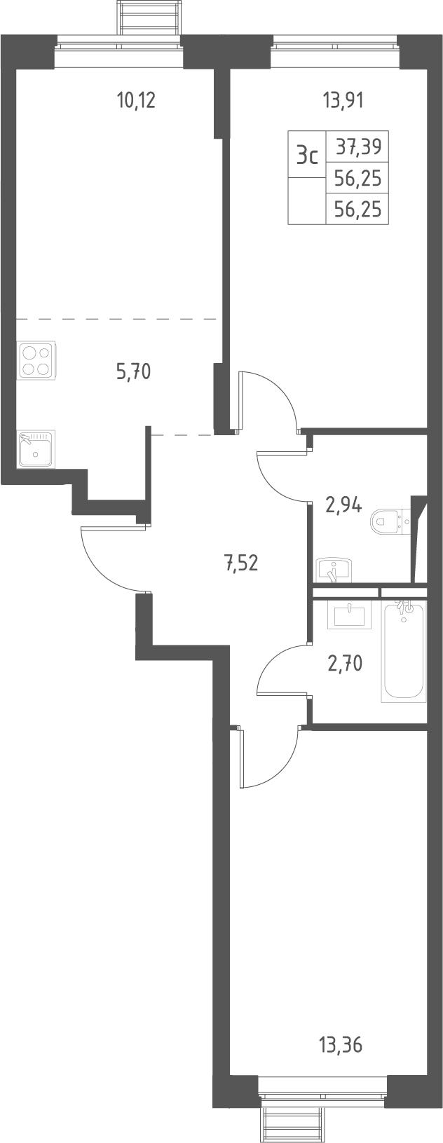 3Е-комнатная, 56.25 м²– 2
