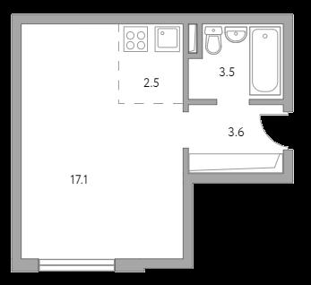 Студия, 26.7 м²– 2