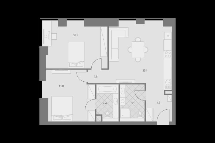 3Е-комнатная, 69.2 м²– 2