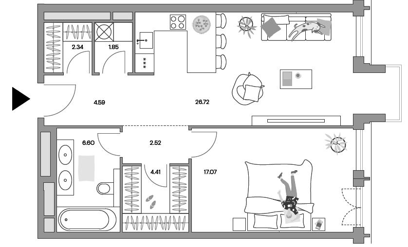 2Е-комнатная, 65.67 м²– 2