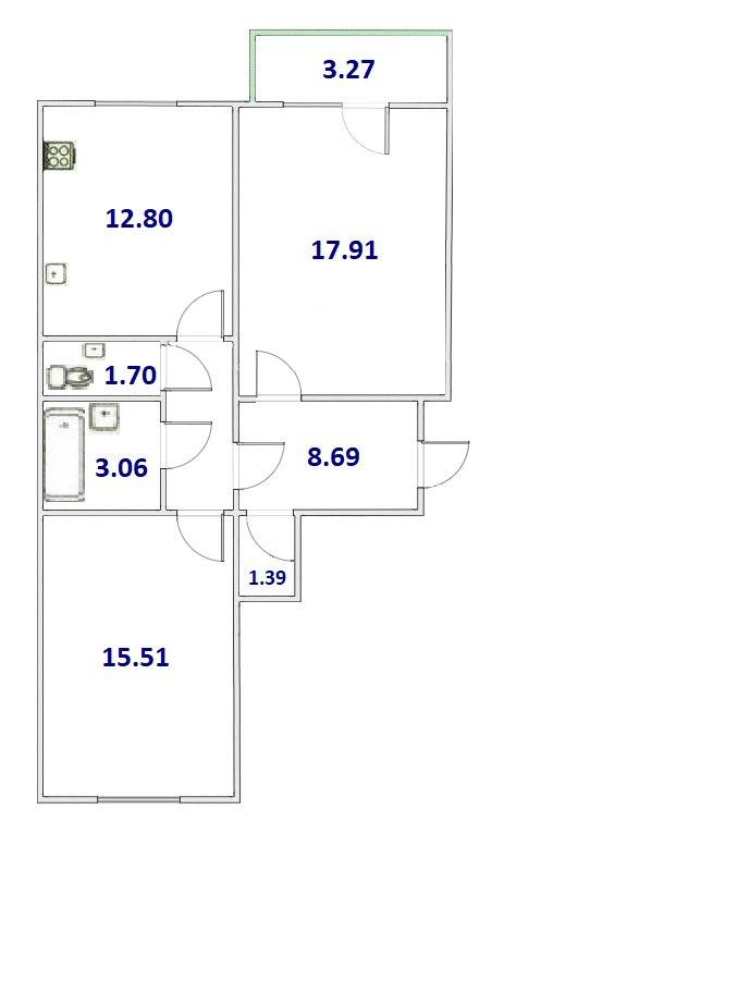 2-комнатная, 61.06 м²– 2