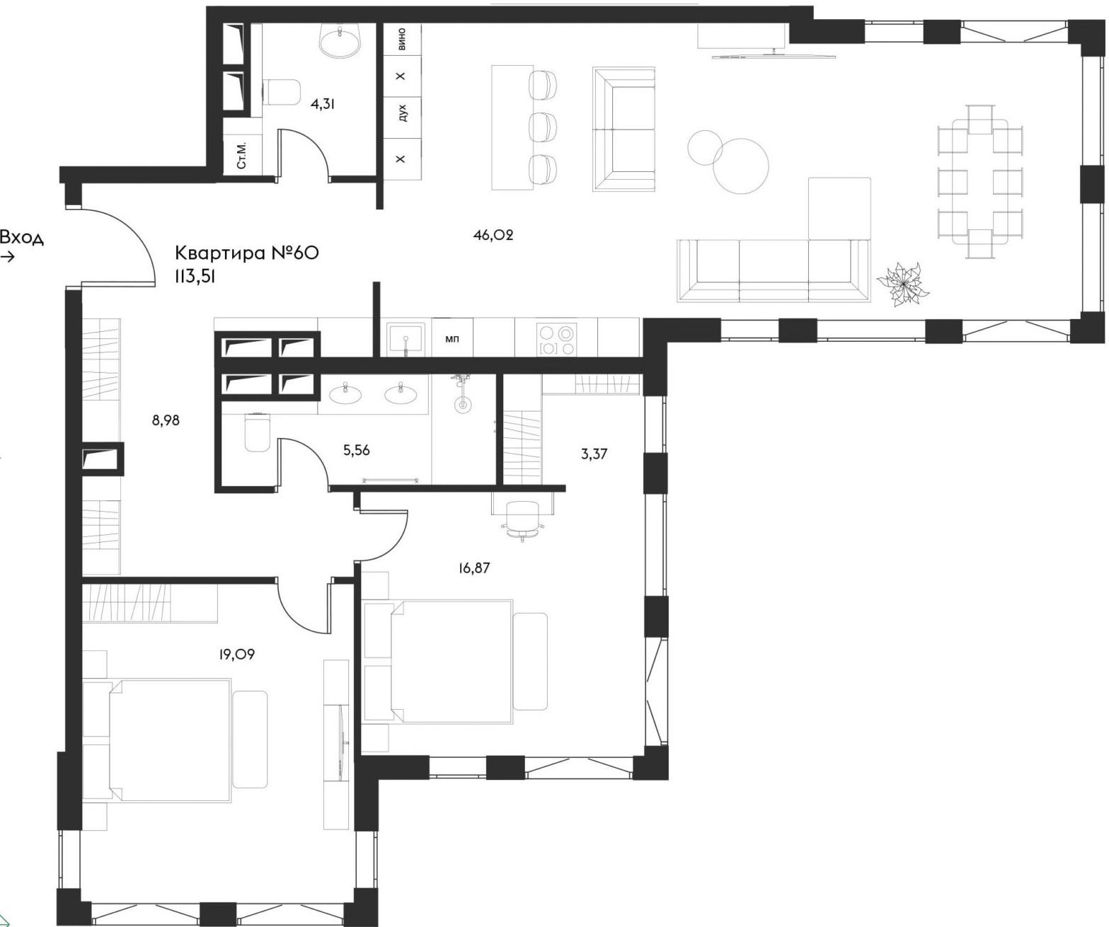 3Е-комнатная, 113.51 м²– 2