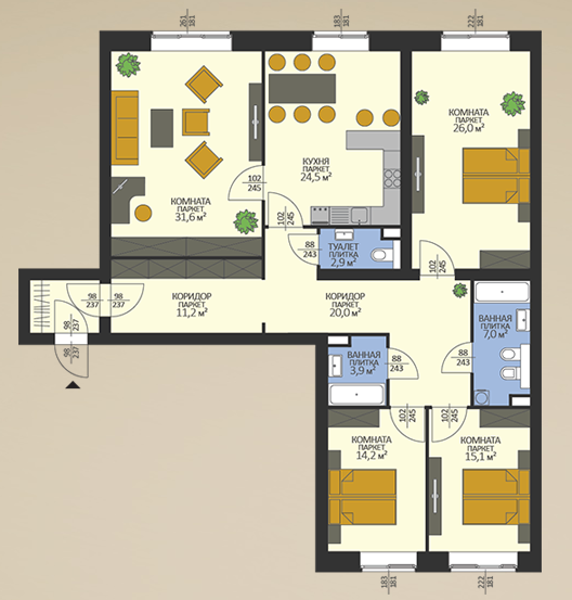 4-к.кв, 160 м²