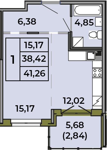 Студия, 38.42 м², 1 этаж – Планировка