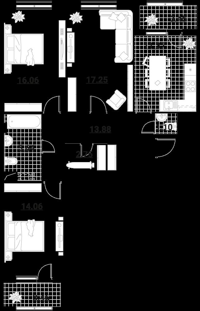 3-комнатная, 89.02 м²– 2