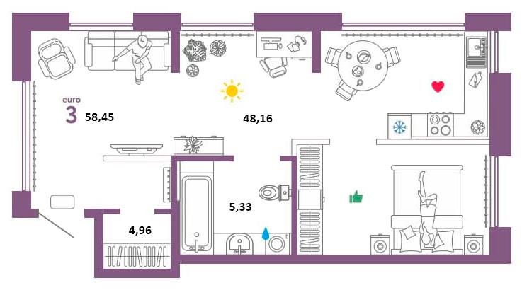 3Е-к.кв, 58.45 м²