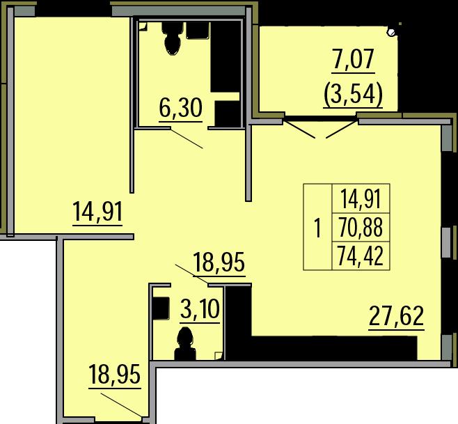 2Е-комнатная, 74.42 м²– 2