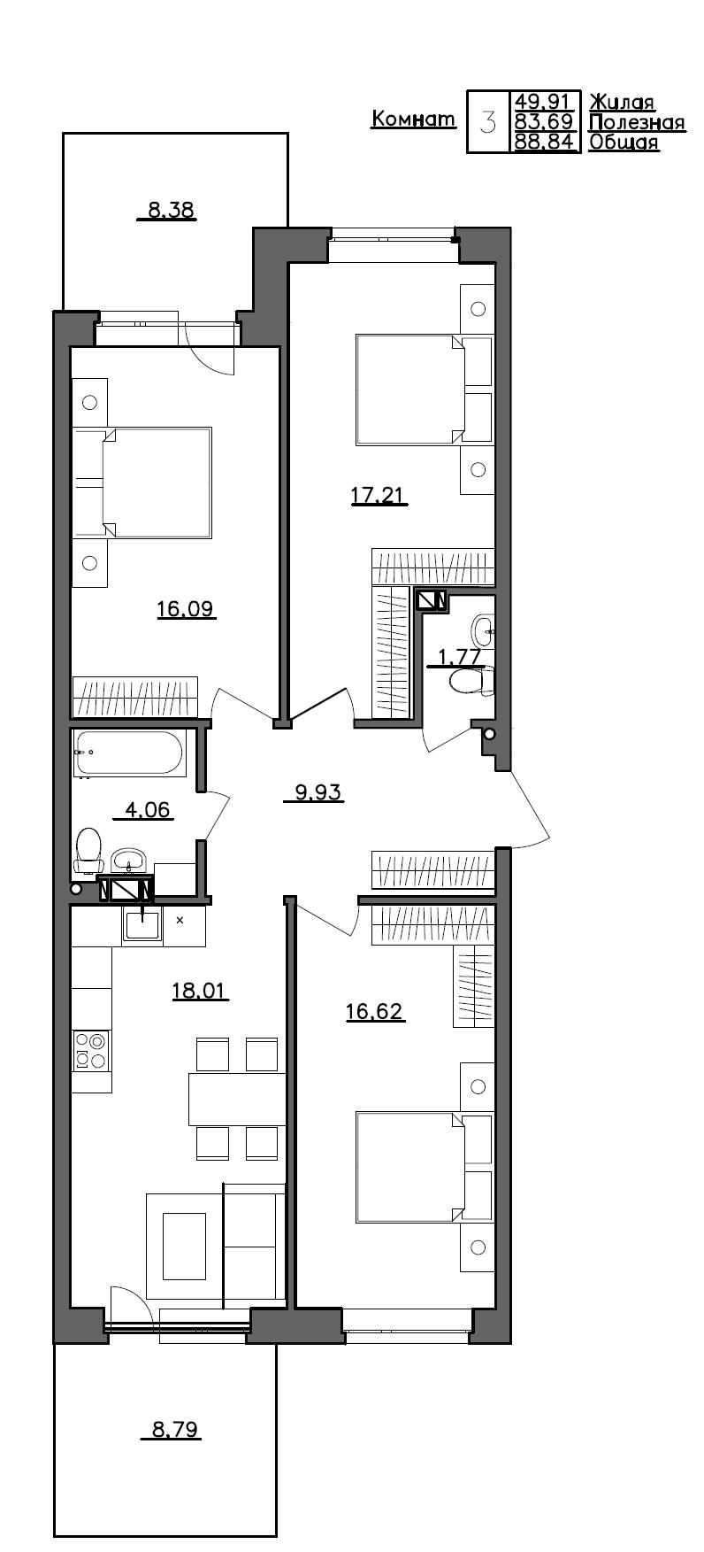 4Е-к.кв, 88.84 м²