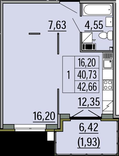 1-комнатная, 42.66 м²– 2