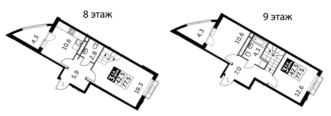 3-к.кв, 77.5 м², 8 этаж