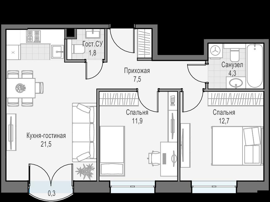 3Е-к.кв, 59.9 м², 16 этаж