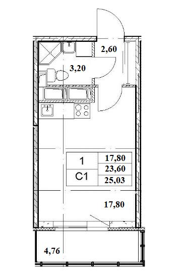 Студия, 23.6 м²– 2