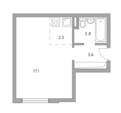 Студия, 27 м²– 2