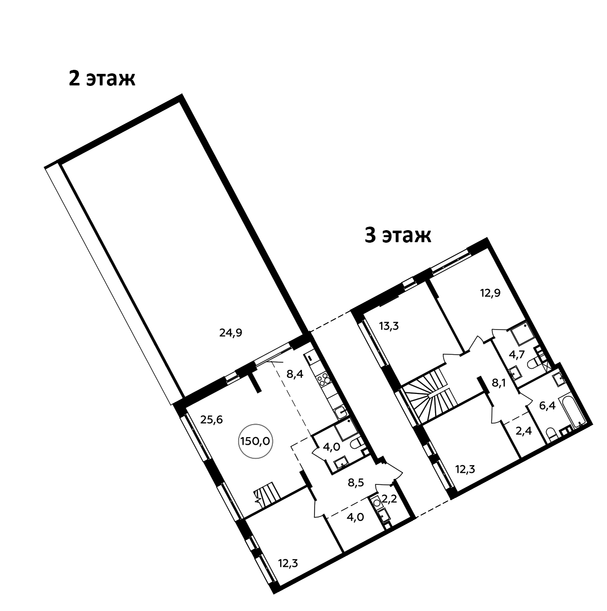 5Е-комнатная, 150 м²– 2