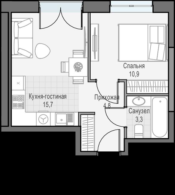 2Е-к.кв, 34.7 м², 23 этаж