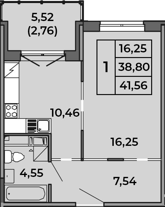 1-к.кв, 38.8 м², 4 этаж