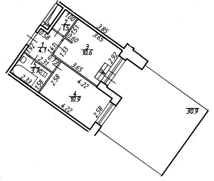 1-к.кв, 61.46 м²