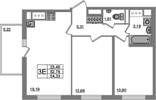 3-к.кв (евро), 57.99 м²