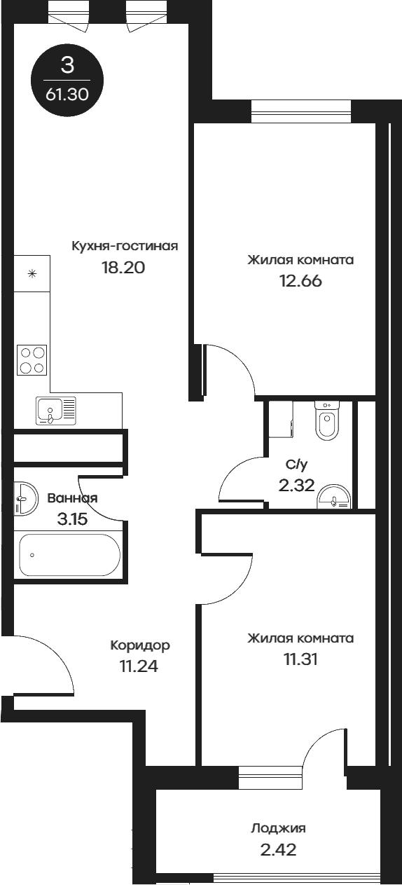 3Е-комнатная, 61.3 м²– 2