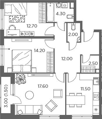 3-комнатная, 78.3 м²– 2